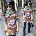 girls clothes child plus velvet sweatshirt winter 2016 child casual all-match placketing medium-long pullover top