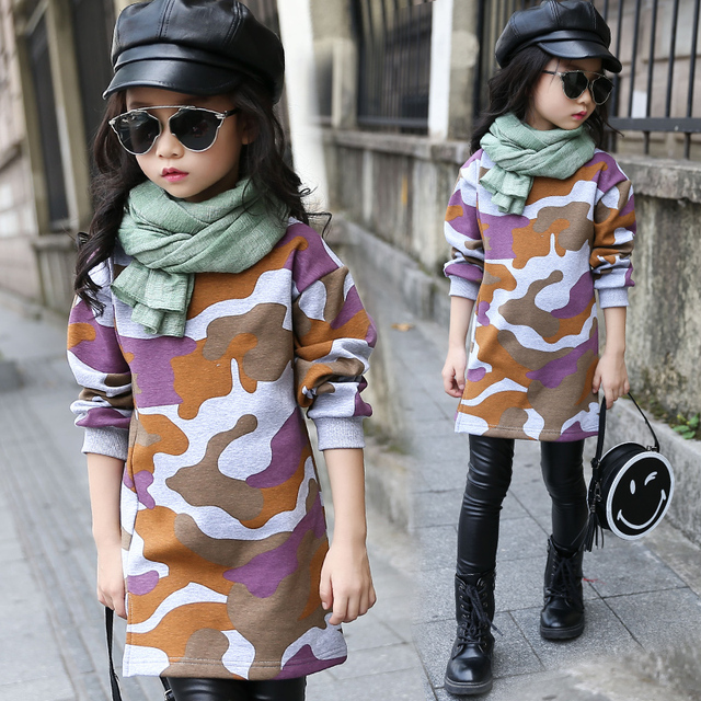 girls clothes child plus velvet sweatshirt winter 2016 child casual all-match placketing medium-long pullover top