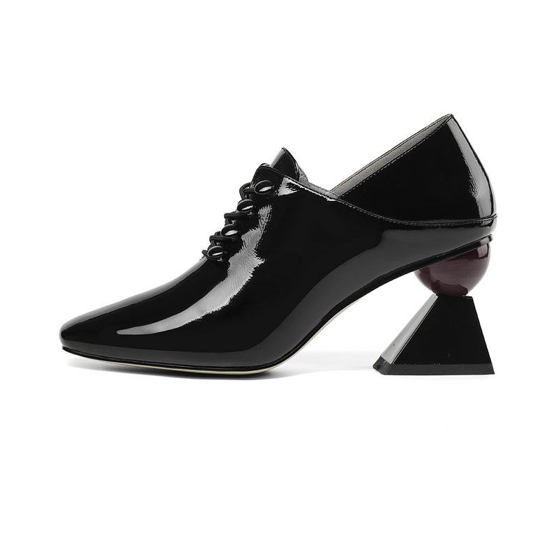 Nuevo Calidad De Cuadrados Las Tacones Alta negro Redonda Cuero Clásica Fiesta Sales Beige Bombas Vestido Mujeres 2019 Punta Zapatos Oficina Genuino Elegante 57IwxYT