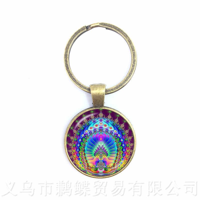 Mandala Parrern llaveros OM Yoga vidrio colgante europeo y americano joyería mejor regalo para los amigos llavero