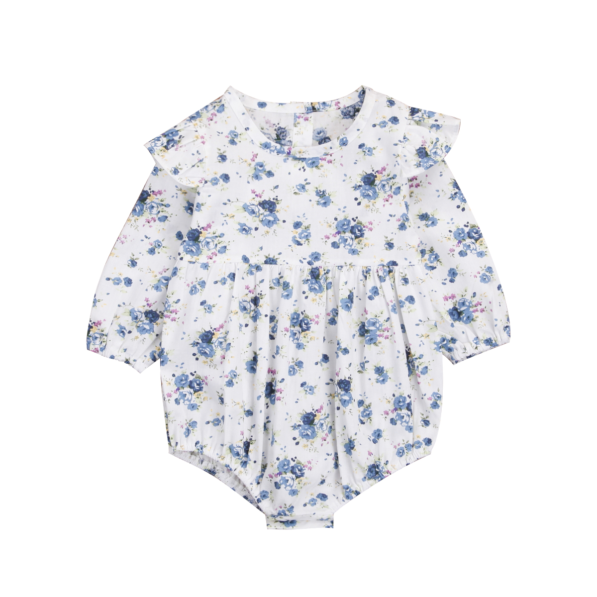 2018 Hot Sell High-quality Cute Newborn Toddler Baby Girl Blue Floral Romper Jumpsuit Outfits Clothes 0-3M