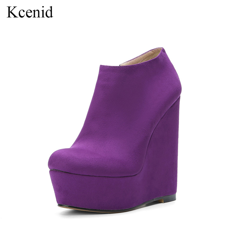 Kcenid รอบ toe รองเท้าส้นสูง wedges รองเท้าสั้น 2019 new arrivals women plus ขนาดข้อเท้ารองเท้าสไตล์รองเท้าผู้หญิงสีม่วง-ใน รองเท้าบูทหุ้มข้อ จาก รองเท้า บน   1