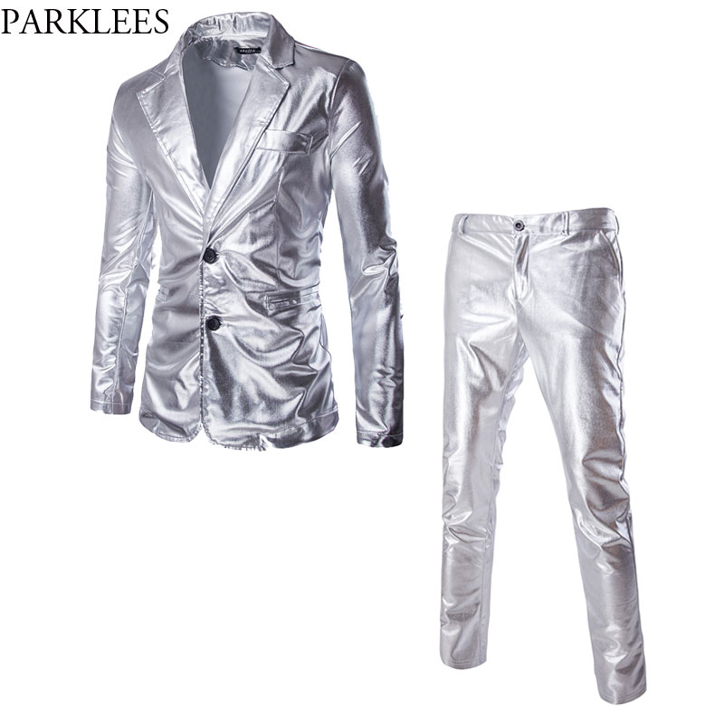 Mens Shiny Metallic Silver Nightclub Suit (Jacket+Pants) Slim Two Buttons Stage Suit Blazer For Singers Dancers Costume Homme