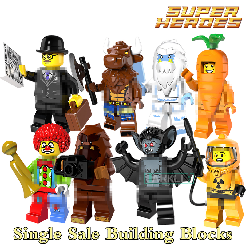 Building Blocks Carrot Man Tauren Vampire Bat Joker Super Heroes Star Wars Action Bricks Kids DIY Toys Hobbies PG8087 Figures single building blocks kits ninja pythor kozu lloyd zane nya figures super heroes star wars model bricks kids toys hobbies x0143