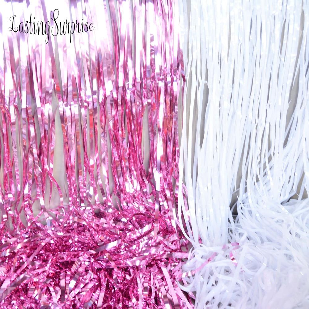 Online Shop 6 Colors Glitter Foil Tinsel Fringe Party Curtain Door Tirai Backdrop Eid Mubarak 92245cm Rain Decoration