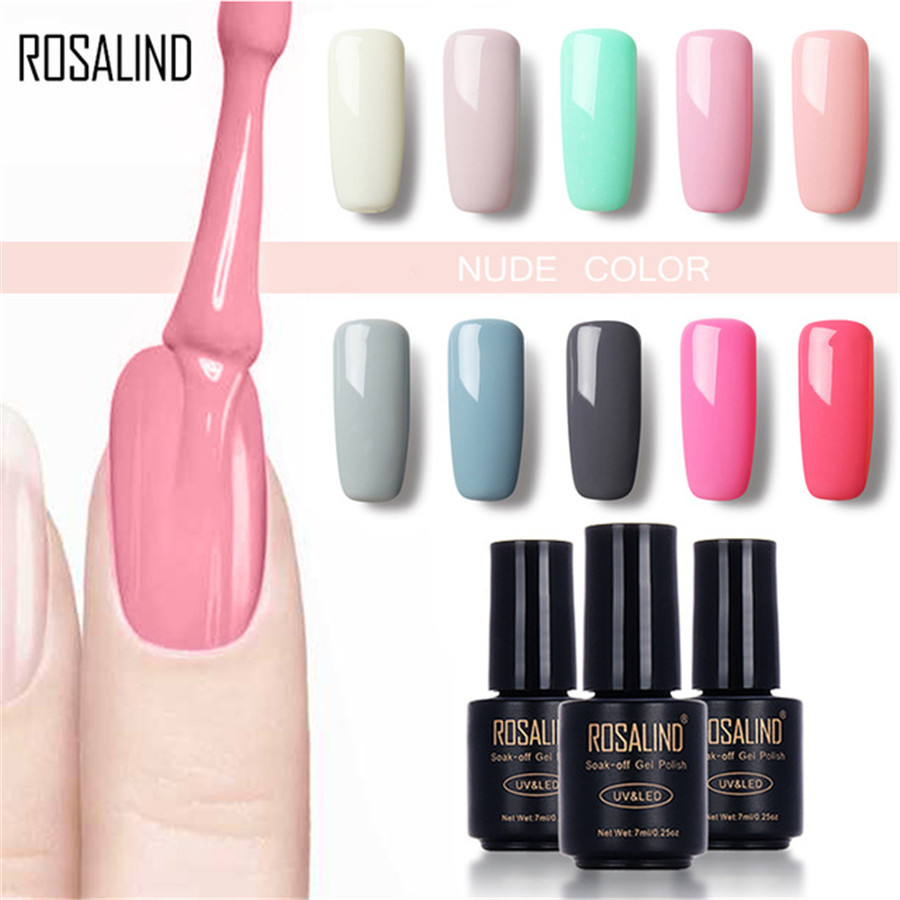 ROSALIND Black Bottle 7ML Pure Color 58 Colors 31-58 UV LED Gel Nail Polish Warming DIY Nail Art Nail Gel Polish Varnish