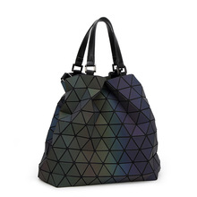 2017 women bag female handbags designers Brand big European style luminous tote fashion geometric laser ladies hand shoulder bag