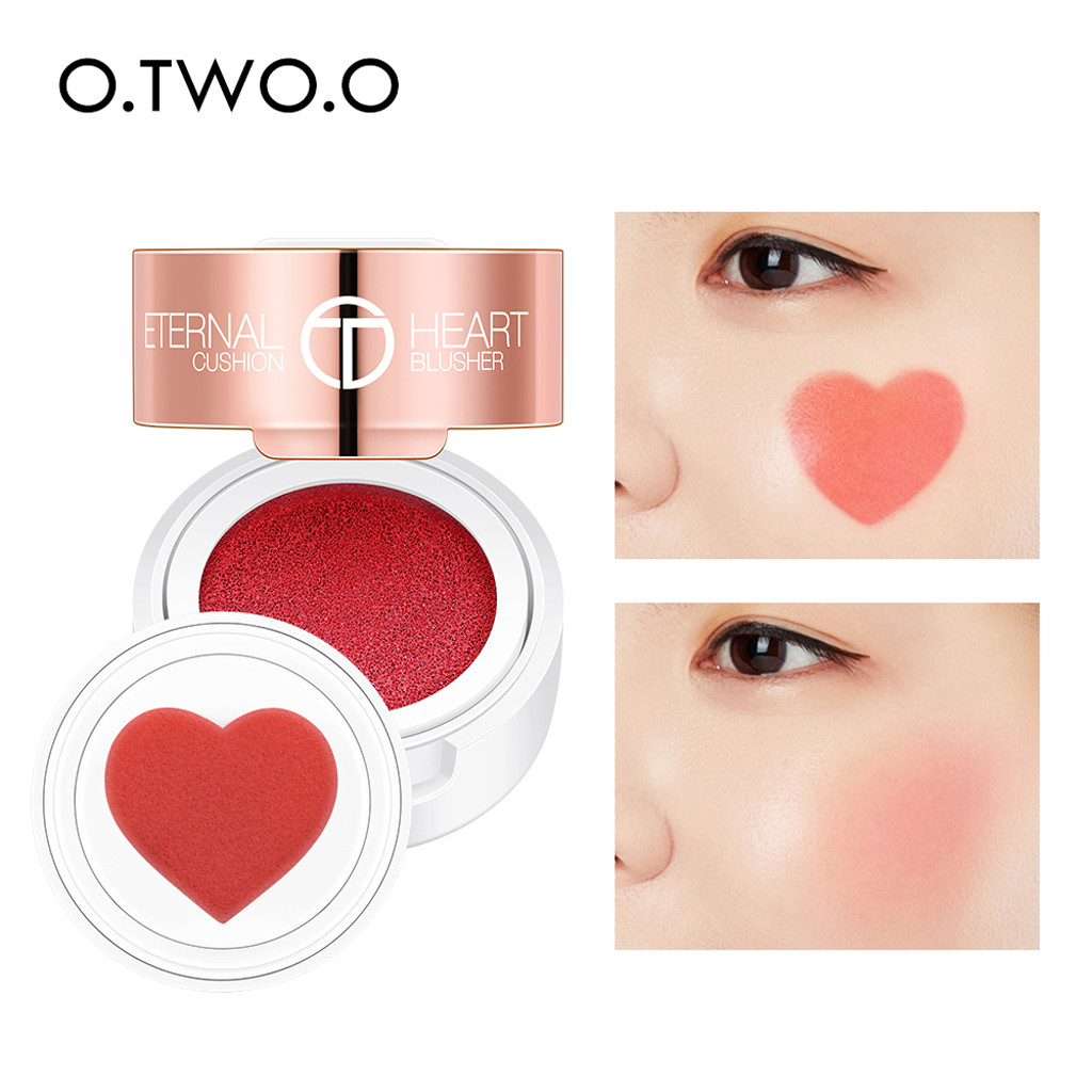 Air Cushion Blusher Folding Heart Shape Shimmer Blush Rouge 4 Colors Easy To Wear Natural Face Contour Make Up New