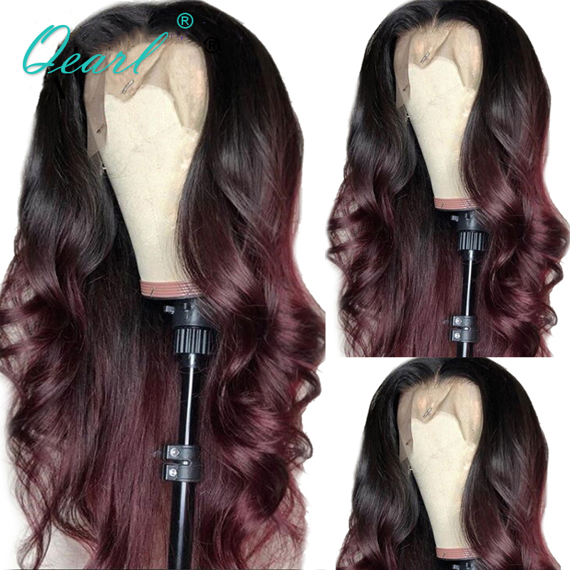 Ombre Lace Front Wig Human Hair Wigs With Baby Hair 13x4/13x6 Natural Wave Middle Part Brazilian Remy Hair 130% 150% Qearl