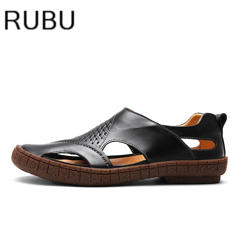 a6451408d4233 2017 Italian Style Men Sandals Slippers Genuine Leather Outdoor Casual  Men S Summer Shoes Gladiator Sandals For Man  01-in Men s Sandals from Shoes  on ...