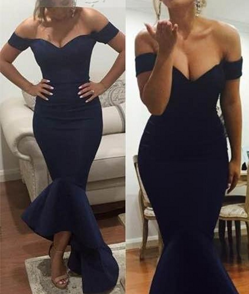 8f9c878cdd68 rode de soiree 2016 Navy Off the Shoulder Trumpet Ruffles Long Evening Dress  New Arrival Taffeta Prom Party Dresses Summer Styel-in Evening Dresses from  ...