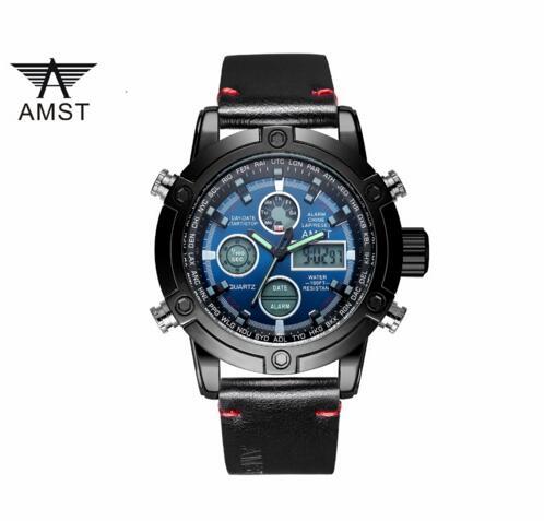 2018 Amst Orologio Al Quarzo Di Marca Per Gli Uomini Display A Led Orologio Sportivo In Pelle Nera Orologi Top Luxury Cronografo Impermeabile 3022-3