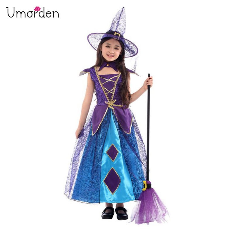 Umorden New Arrival Halloween Costumes for Girl Purple Poker Witch Costume Cosplay Party Carnival Fantasia Dress
