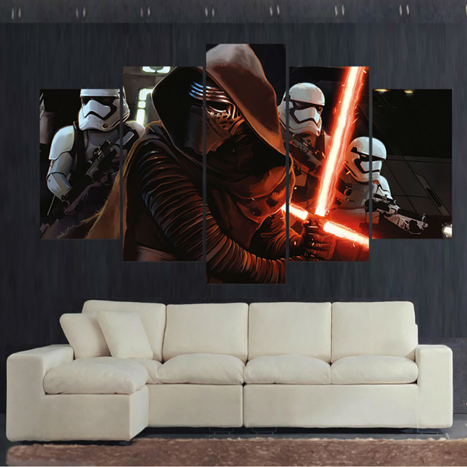 Modern HD Printed Framework Canvas Painting 5 Panel Star Wars Movies Scene Poster Art For Home Living Room Wall Pictures Decor image