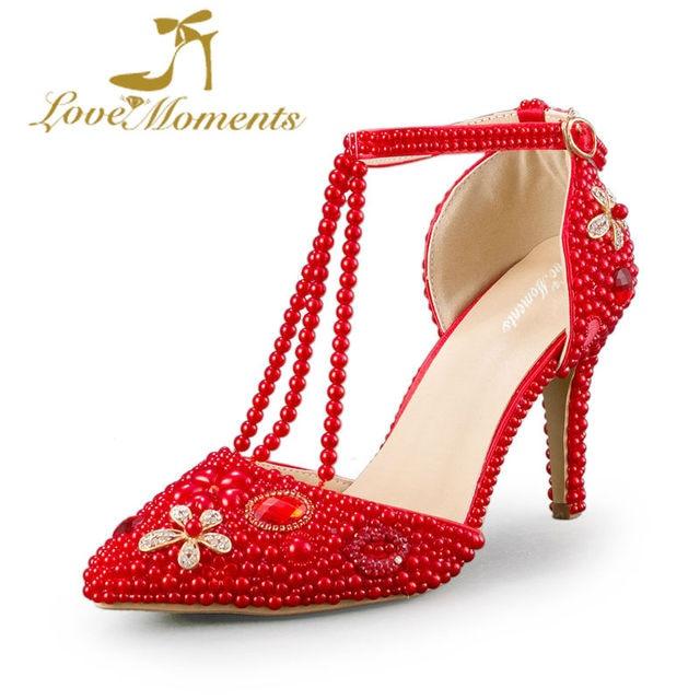 Red Imitation Pearl Bridal Dress Shoes 8cm High Heel Wedding Party Shoes  Handmade T-strap 380ba84e5d96