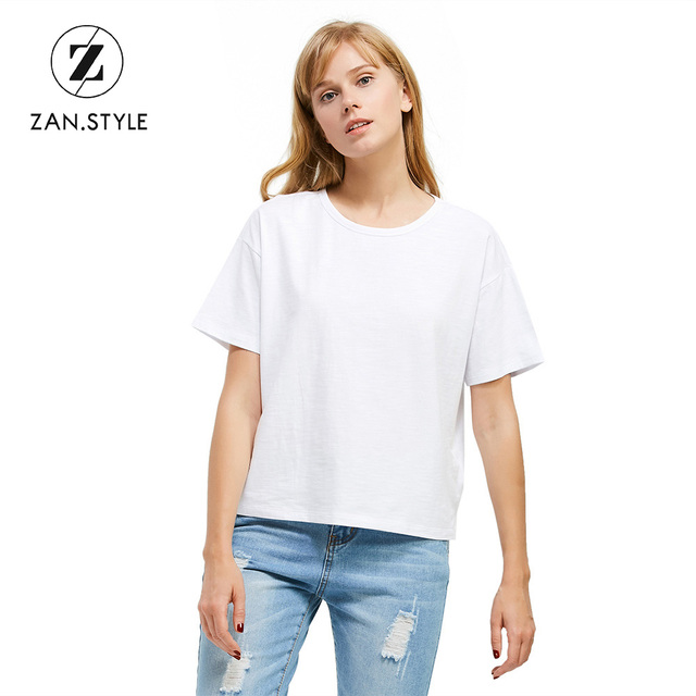 ea89fb520be0d4 ZAN.STYLE Cotton Box Cut Side Slit T-Shirt High Quality Soft Solid O Neck  Tshirt Casual Women Tops Short Sleeve Girls Tee Tshirt