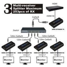 120 m 1080 p משדר או מקלט מעל IP TCP HDMI Extender Ethernet מעל Lan אות RJ45 cat5 cat6 cat5e HDMI Extender TX/RX