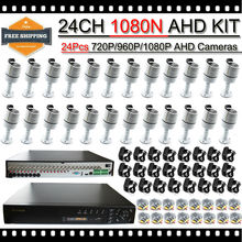 HKES 24CH Surveillance Kits with 6IR LEDs Bullet AHD Digital camera Waterproof, Xmeye utility, help iPhone and android