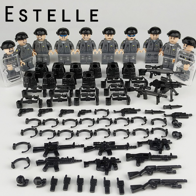 10 Pcs Special Forces Soldaten Cijfers Swat Bouwstenen Speelgoed Compatibel Legoings Militaire Ww2 Gun Wapen Shield Vest Bricks