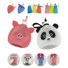 Cute shape silicone kettle collapsible children's kettle love piglet heart-shaped Soft kettle outdoor portable water bottle