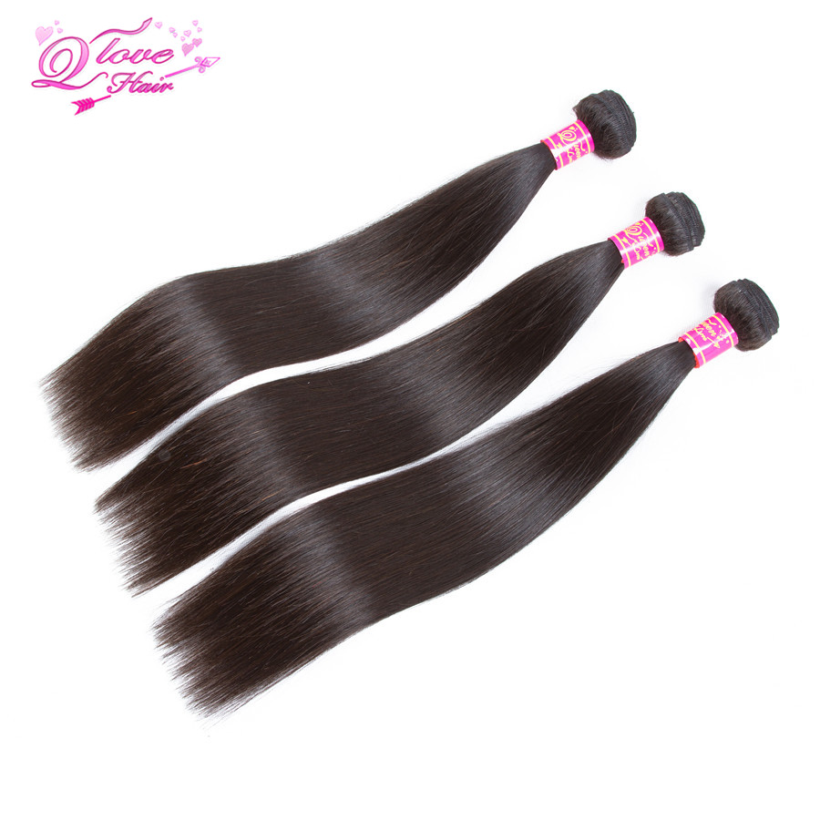 Queen Love Hair Straight Human Hair Bundles With 13*4 Lace Frontal Closure Brazilian Hair Extension Remy Hair Natural Color