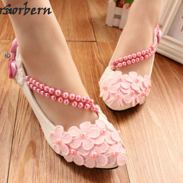 2018 Flower Wedding Shoes Beading Straps Pink White Lilac Bow Bridal Shoes  High Heel Pumps 3 5 8Cm Heeled Shoes f6cef7435986