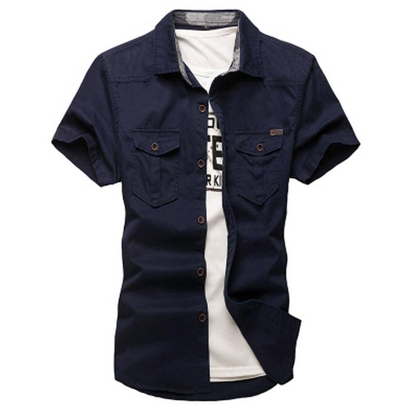Hot 2017 Outdoor Short sleeve cotton Sport shirt tooling Cargo army uniform shirt pocket camouflage Camping Hiking Shirts Men