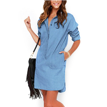 Fashion Dress Women 2017 Irregular Denim Dresses Long Sleeve Shirt Dress Casual Loose Office Jean Dresses Vestidos LJ1286C