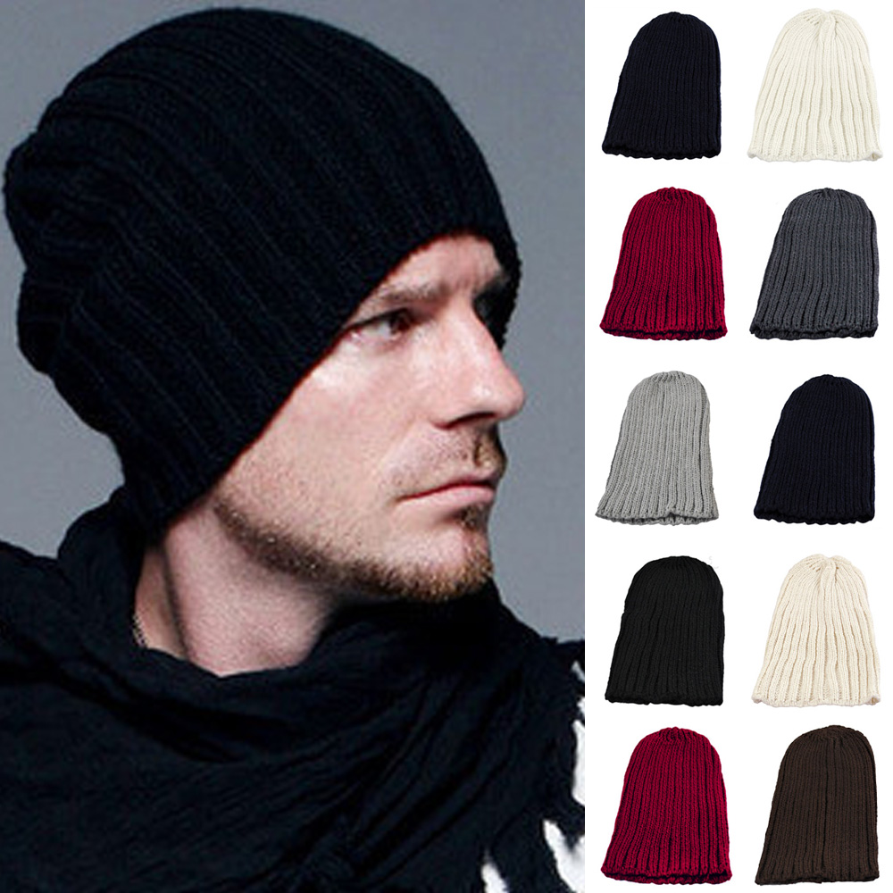 Men Winter Warm Stripe Knitted Crochet Slouch Baggy Beanie Hat Ski Driving Cap HATBD0006