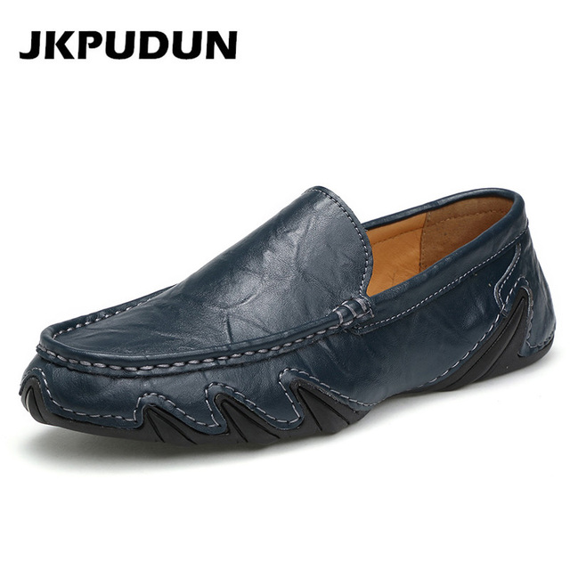 2023ff69a45 JKPUDUN Italian Mens Boat Shoes Casual Luxury Brands Penny Loafers Designer  L eather Breathable Driving Shoes