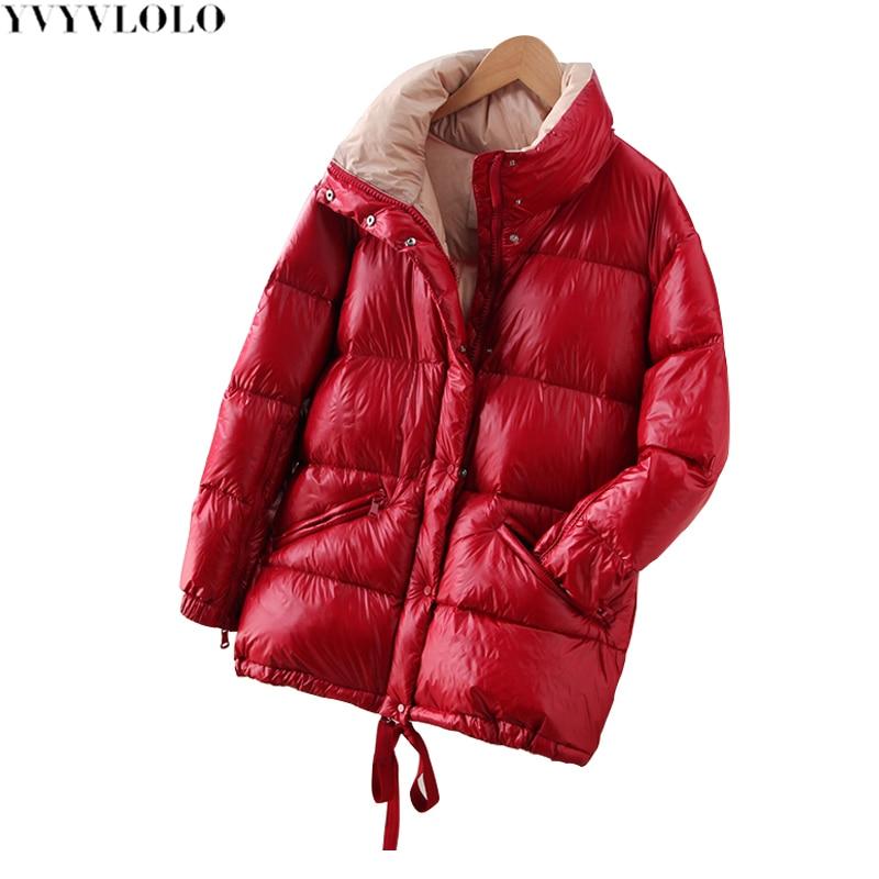 Haute Femmes rouge Yvyvlolo Qualité Hiver Femelle Mode Chaud Étanche Veste Nouvelle Manteaux Outwear Épaississent Parka D'hiver Noir Stand 2018 wRqqCXxf