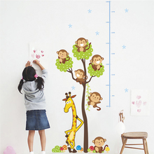 cute monkey giraffe tree growth chart wall decals bedroom home decor cartoon animals height measure stickers pvc posters