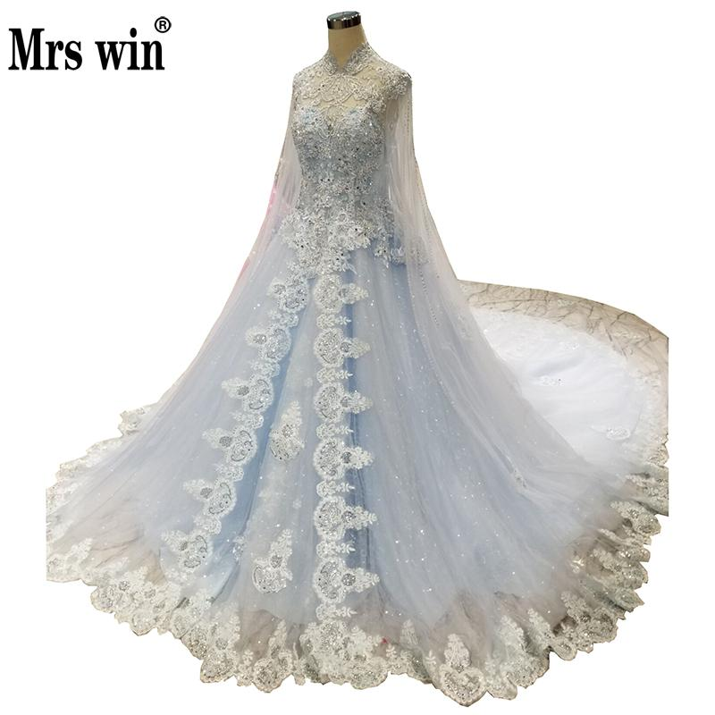 High-end Luxury Wedding Dress 2019 New Mrs Win Full Sleeve 1 M Long Train Princess Vestido De Noiva Robe De Mariee Grande Taille