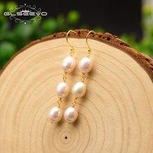 Женские серьги капли glseevo длинные с жемчугом в виде пресной