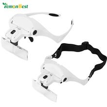 Lemonbest 2-LED Visor lupa okulary powiększające szkło do naprawy jubiler lupa narzędzia z 5 wymiennymi opaskami obiektywu tanie tanio Styl noszenia 9892B2 ABS + acrylic lens 1 0X 1 5X 2 0X 2 5X 3 5X two ways to ware