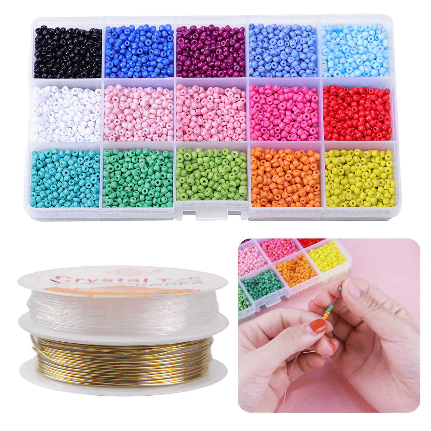 Kids Mini 3mm Glass Beads Colorful DIY  Stringing Threading Bead Necklaces Bracelets Jewelry Making Beaded Game Accessory Toy