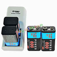 4pcs 600mAh 9V 6F22 Rechargeable NiMH Batteries and 2 Slots 9-Volt Battery Charger