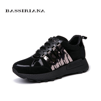 BASSIRIANA 2018 new Leather flats ladies shoes russian sizes, casual shoes for woman, free shipping size 35 40