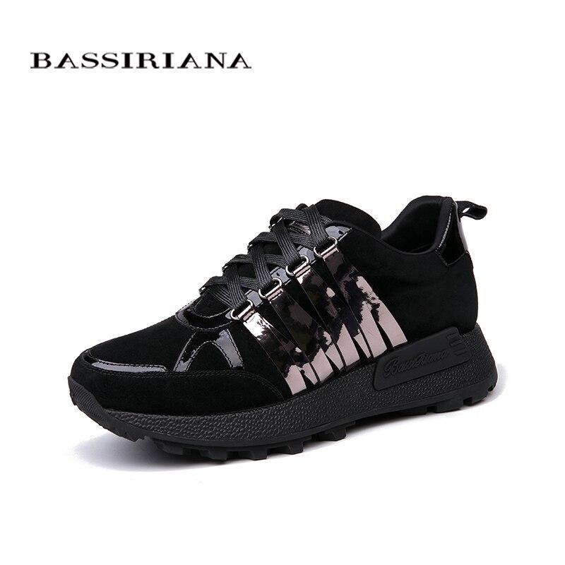 BASSIRIANA 2018 nouvelle En Cuir appartements dames chaussures russe tailles, casual chaussures pour femme, livraison gratuite taille 35-40