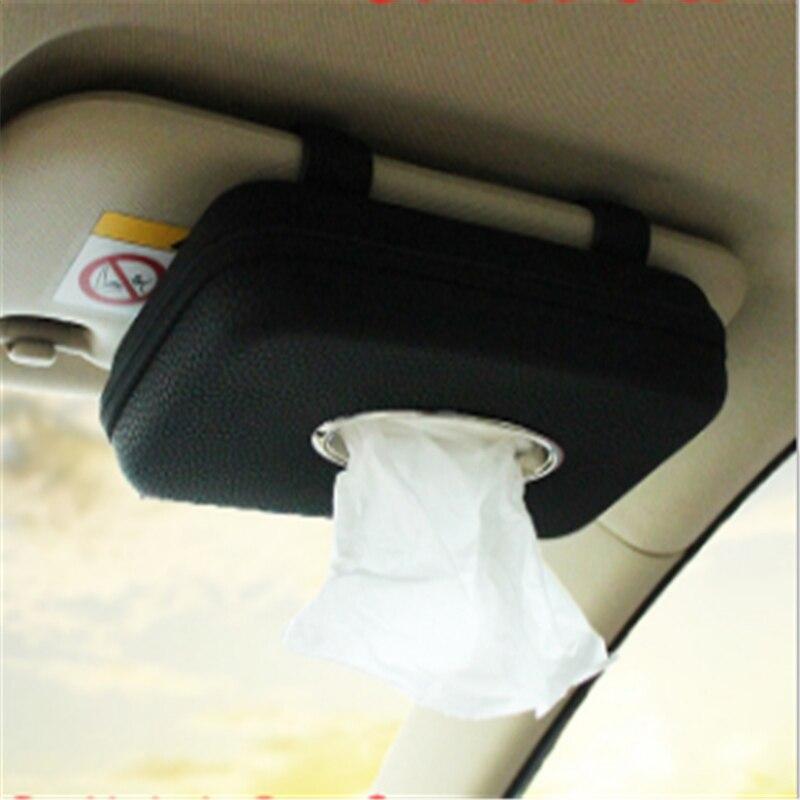 Fashion Visor Type PU Leather Car Tissue Box Napkin Holder Multifunction Car Tissue Holder Car Seat Box