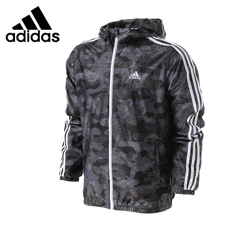 Original New Arrival Adidas Performance WB CAMO AOP Men's jacket Hooded Sportswear zipper up hooded camo lightweight jacket