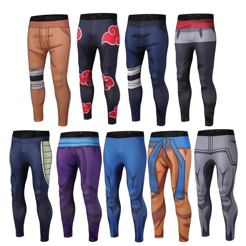 Мужские быстросохнущие брюки для фитнеса, черные облегающие леггинсы с драконом, шариком, Наруто, Гоку, для косплея, бодибилдинга