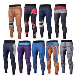 Для мужчин фитнес быстросохнущая брюки для девочек Dragon Ball Z Наруто Гоку черный Вегета косплэй Бодибилдинг обтягивающие леггинсы брюки