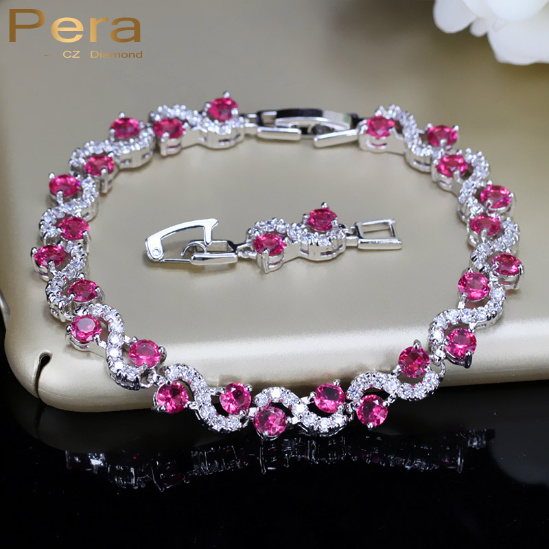 Pera Sterling Silver 925 Link Chain CZ Bracelets Red Cubic Zirconia Crystal S Shape Fashion Party Jewelry For Women B016 925 sterling silver bracelets for women moon and star cz crystal bracelets