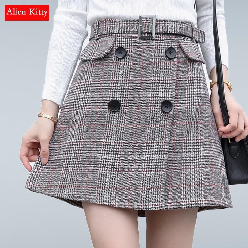 Alien Kitty Vintage Women Skirts Spring Autumn Fashion A-line Plaid Midi Skirt Female High Waist Woolen Skirt Plus Size S-XXL