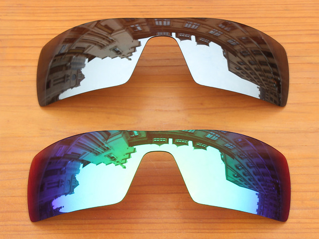 Chrome Silver & Green 2 Pieces Mirror Polarized Replacement Lenses For Oil Rig Sunglasses Frame 100% UVA & UVB Protection