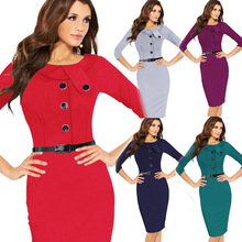 2016 Hot Women Work Dresses Manufacturer For Explosion Couture Fold Decoration Pencil Straight Knee length Bodycon