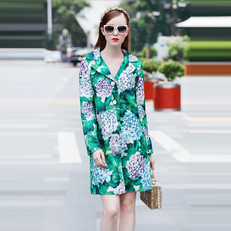 High Quality Women's Clothing Spring And Autumn 2017 New Hydrangea Printed Long Sleeve Female   Trench   Coat Plus Size Windbreaker