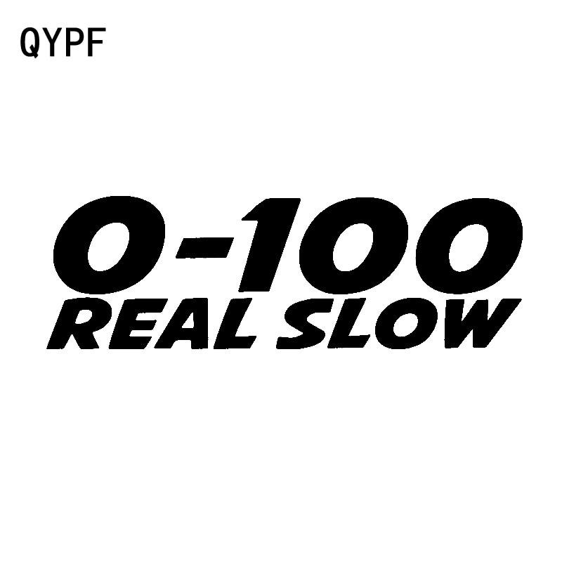 QYPF 14.5CM*4.5CM 0-100 Real Slow Fun Decal Car Sticker Black Silver Motorcycle Vinyl C15-2952