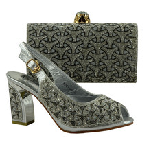 Fashion Italy Design Italian Matching Shoe And Bag Set African Wedding Shoe And Bag Sets Women Heel Pumps Silver 89231-917